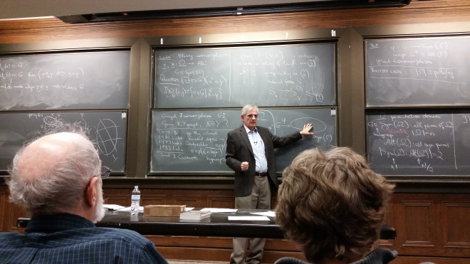 Laci during his lecture.